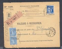 RECOUVREMENT / VALEURS A RECOUVRER Devant Env 1488 Tarif 2,50 Fr Tarif 17/11/1938  Paix Semeuse - Postmark Collection (Covers)