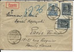 POLOGNE - 1929 - ENVELOPPE EXPRES De VARSOVIE Pour PARIS - Briefe U. Dokumente