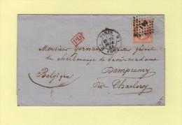Paris D1 - Losang DS1 - Destination Dampremy Belgique - N°23 40c Empire - 20 Fevr 1863 - Sans Correspondance - Marcophilie (Lettres)