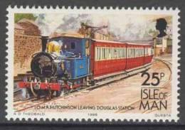 "Isle Of Man 1988 Mi 382 YT 382 ** I.O.M.R. ""Hutchinson"" Leaving Douglas Station / Personenzug Mit Lok - Treinen"