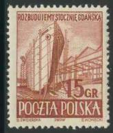 Poland Polska Polen 1952 Mi 776 YT 681 SG 784 ** Shipbuilding- Gdansk Shipyards/ Schiffs Werft In Danzig/ Chantier Naval - Transportmiddelen