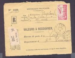 RECOUVREMENT / VALEURS A RECOUVRER Devant Env 1488 Tarif 2,50 Fr Tarif 17/11/1938  2,50 Avion - 1921-1960: Modern Period