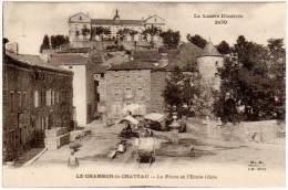 Le Chambon Le Château - La Place Et L'Ecole Libre (cachet Intéressant - édition M.B.) - France