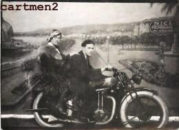 PHOTO MONTAGE SURREALISME COUPLE SUR UNE MOTO NICE PROMENADE DES ANGLAIS MOTOBECANE PHOTO  DE FOIRE