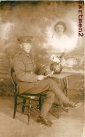 """MONTAGE PHOTO SURREALISME """" UNE PENSEE DU FRONT """" SOLDAT ANGLAIS REVANT A SA FEMME ENGLISH SOLDIER PHOTOMONTAGE"""