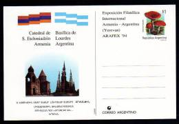 Catedral De S. Etchmiadzin (Armenia) - Basílica De Lourdes (Argentina  - 1994 - Arg. - Entero Postal - POSTAL STATIONERY - Ohne Zuordnung