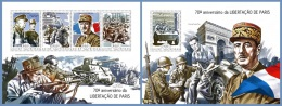 gb14503ab Guinea Bissau 2014 Shell Liberation of Paris 2 s/s WW2 World War II Charles De Gaulle