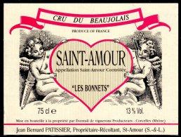 THEME DIVERS étiquette De Vin SAINT AMOUR / COEUR ANGE TIR A L'ARC - Cuori