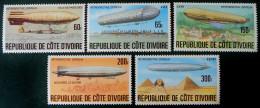 RETROSPECTIVE ZEPPELIN 1977 - NEUFS ** - YT 434/38 - MI 517/21 - Côte D'Ivoire (1960-...)