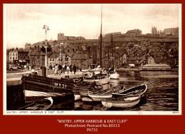 "P4731  ""WHITBY, UPPER HARBOUR & EAST CLIFF""  (c1950's. Sepia Matt Real Photo Postcard) - Whitby"