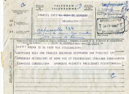 926/22 - Télégramme BRUXELLES TT 1967 - Mention Manuscrite A Représenter Suite Avis De Service Taxé ....Autre Adresse - Télégraphes
