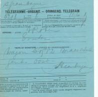 927/22 - Formule Bleue DeTélégramme Urgent - S' Gravenhage Vers ESSCHEN ( Années 1920/30) - Télégraphes
