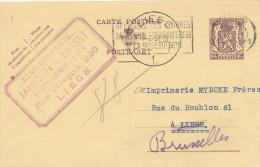 933/22 - DISTILLERIE VINS BELGIQUE - Entier Postal LIEGE 1951 - Cachet Distillerie Vins Ets Janssen -Tasset - Vins & Alcools