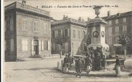 Aveyron, Millau, Fontaine Des Lions Et Place De L'Hotel De Ville, Animée - Millau