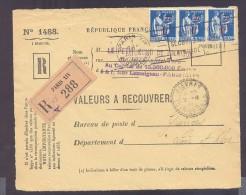 RECOUVREMENT / VALEURS A RECOUVRER Devant Env 1488 Tarif 3 Fr Tarif 01/12/1939 Paix - Marcophilie (Lettres)