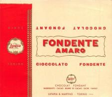"""0301 """"CIOCCOLATO FONDENTE AMARO - LUPARIA E MARTINO - TORINO """".  ETICHETTA ORIGINALE. - Cioccolato"""