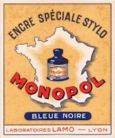 """0302 """"ENCRE SPECIALE STYLO - BLUEU NOIRE  - LABORATOIRES LAMO - LYON """".  ETICHETTA ORIGINALE. - Pubblicitari"""