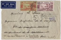 1939 NOUVELLES HEBRIDES LETTRE RECOMMANDEE PAR AVION POUR LA FRANCE OBLITEREE PORT-VILA 3 FEV 39 - Brieven En Documenten