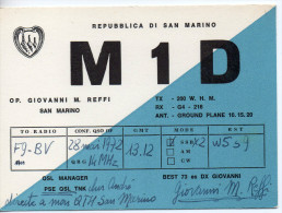 AMATEUR RADIO   M1D  -  GIOVANNI M.REFFI  -  SAN MARINO  - 1972 - Radio Amateur