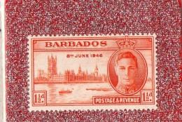 """BARBADOS   --   """""""" 1 1/2  D . """"""""  --    8 JUIN 1946   --   NEUF SANS  TRACE DE  CHARNIERE - Barbados (1966-...)"""
