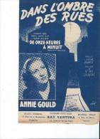 Dans L'ombre Des Rues/Annie Gould/ De Onze Heures à Minuit/ Editions Ventura/ 1949  PART74 - Partitions Musicales Anciennes