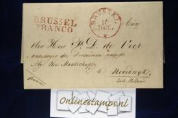 Belgium: Dutch Period Complete Letter BRUSSEL -> Noordwijk Round Cancel + BRUSSEL FRANCO,wax Sealed, 17-12-1829 - 1815-1830 (Periodo Olandese)