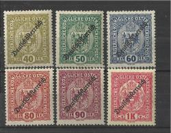 """AUSTRIA 1918 - MNH SERIE OF 6 STAMPS """"COAT OF ARMS"""" 140-50-60-80-90-HEL 1 K OVERPRINTED """"DEUTSCHOSTERREICH REGRE438"""