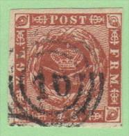 """DEN SC #7  1858 Royal Emblems 4 Margins, """"16""""(Flensburg) In Conc. Circles - Used Stamps"""