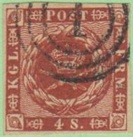 """DEN SC #7  1858 Royal Emblems 4 Margins, """"1"""" (Kjobenhavn) In Conc. Circles, CV $8.50 - 1851-63 (Frederik VII)"""