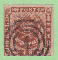 "DEN SC #7a  1858 Royal Emblems 4 Margins, ""4""(Aalborg) In Conc. Circles, CV $8.00 - 1851-63 (Frederik VII)"