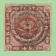 "DEN SC #7a  1858 Royal Emblems 4 Margins, ""1"" (Kjobenhavn) In Conc. Circs., CV $8.00 - 1851-63 (Frederik VII)"