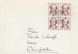 1955 SWITZERLAND COVER  4 X 5+5c JERAMIAS GOTTHELF 1954 Pro Juventute Stamps  Author Literature - Switzerland