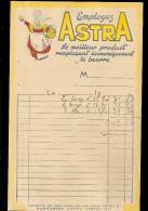 Facture Illustrée EMPLOYER ASTRA Le Meilleur Produit Remplaçant Économiquement Le Beurre , MARGARINE ASTRE YVETOT 76 - Francia