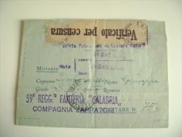 Biglietto Postale Per Le Forze Armate Fanteria Calabria  A Bari Ceglie Del Campo - 1900-44 Vittorio Emanuele III