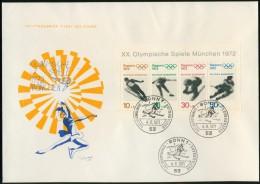 DV12-045 WEST GERMANY 1971 FDC MI M/S, BLOCK 6 SPORT, OLYMPICS SAPORRO JAPAN, SPEEDSKATING, SKIING. - Winter 1972: Sapporo