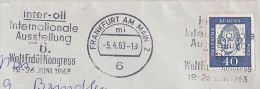 1963 GERMANY COVER Frankfurt WORLD PETROLEUM CONGRESS SLOGAN Pmk  To GB Stamps Oil Minerals Energy - Pétrole