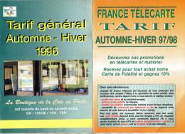 TARIFS  TELECARTES  FRANCE TELECARTE  La Boutique De La Cote En Poche   1996 1997/1998  (lot De 2) - Télécartes