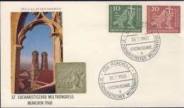 DV12-050 WEST GERMANY 1960 FDC MI 330-331 WORLD EUCHARISTIC CONGRESS. - Christentum