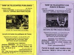 TARIFS TELECARTES  JEROME GRASSY *2000 *2003  (lot De 2) - Télécartes