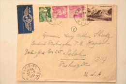 Enveloppe Avion 1951 Paris Rue Cujas -> Washington USA, Affr. Composé 76 F - France