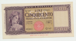 Italy 500 Lire 1948 AUNC Banknote P 80a 80 A - [ 1] …-1946 : Koninkrijk