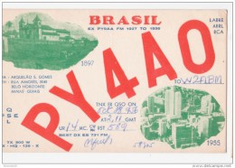QSL Card Brazil - Belo Horizonte Minas Gerais Views 1897 1955 Postcard - PY4A0 - Belo Horizonte