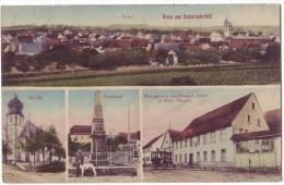 Grossrinderfeld - Metzgerei Und Gasthaus Zum Adler, Denkmal Kirche, Omnibus? - 1913? M. Ruoff Heilbronn - Altri