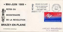 Flamme Sur Enveloppe : Fêtes Du Bicentenaire De La Révolution 1789-1989 (Brazey En Plaine, Côte D'Or, 21) Du 21-03-1989 - Marcophilie (Lettres)