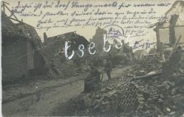 Langemark 1915 -Vernietiging  ... Straat, Huizen, Kerk - Duitse Soldaten  - Duitse Fotokaart ( Verso Zien ) - Langemark-Poelkapelle