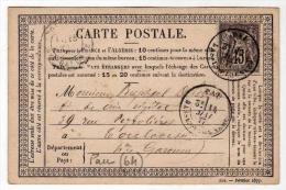 !!! CARTE PRECURSEUR TYPE SAGE CACHET DE PAU (BASSES PYRENEES) 1877 - Entiers Postaux