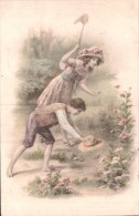 ILLUSTRATION DEUX ENFANTS A LA CHASSE AUX PAPILLONS CIRCULEE 1912 - Illustrateurs & Photographes