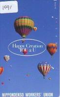Telecarte  JAPON * BALLON * MONTGOLFIERE (1091)  Hot Air Balloon * Aerostato  PHONECARD JAPAN * - Sport