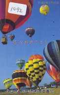 Telecarte  JAPON * BALLON * MONTGOLFIERE (1092)  Hot Air Balloon * Aerostato  PHONECARD JAPAN * - Sport