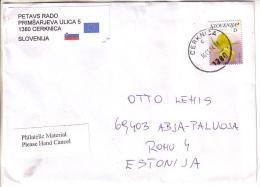 GOOD SLOVENIA Postal Cover To ESTONIA 2014 - Good Stamped: Flower - Slowenien